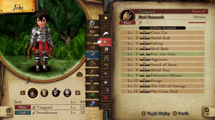 Bravely Default 2. A list of jobs and abilities.