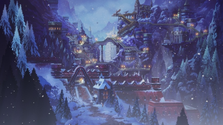 A snowy, city in the mountains. Tress, houses and bridges are present.
