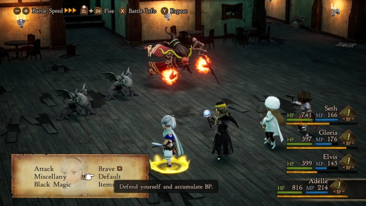 Four people and enemies stand across and fight.