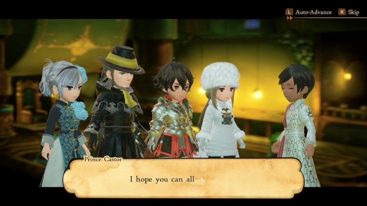 The four heroes talk with a prince.