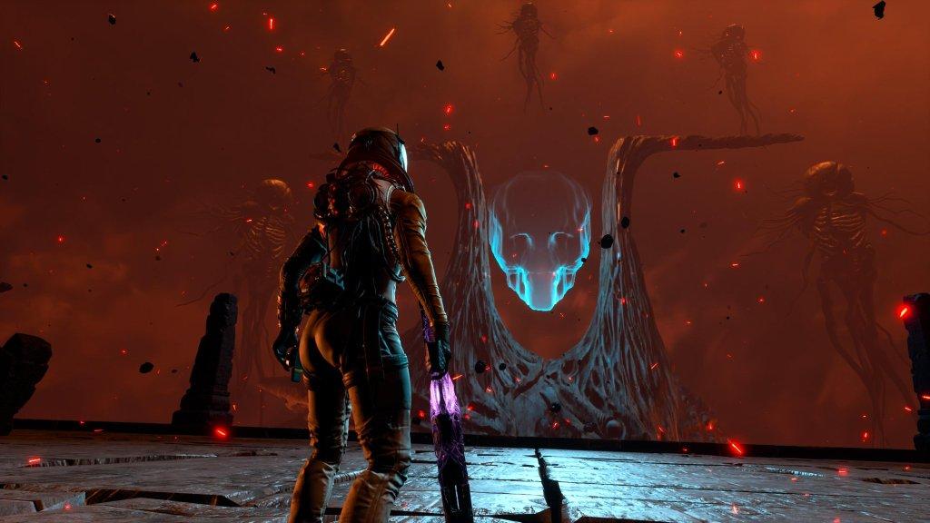 Selene standing opposite large alien creature.